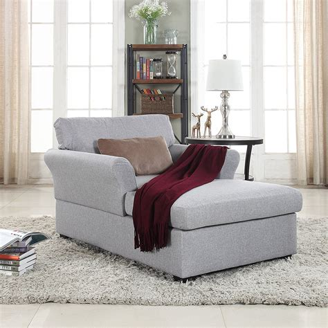 Large Classic Linen Fabric Living Room Chaise Lounge Dark .